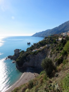 looking back along the Amalfi Coast from Salerno