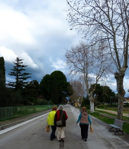 walking along the Paestum lane