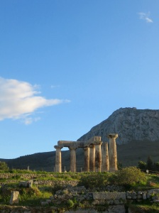 Ancient Corinth...walking up the hill behind in a mo