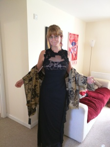 our Jen with her new dress bought to attend the Sandhurst Christmas ball